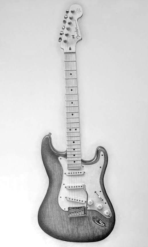 Graphite Drawing of a Fender Stratocaster