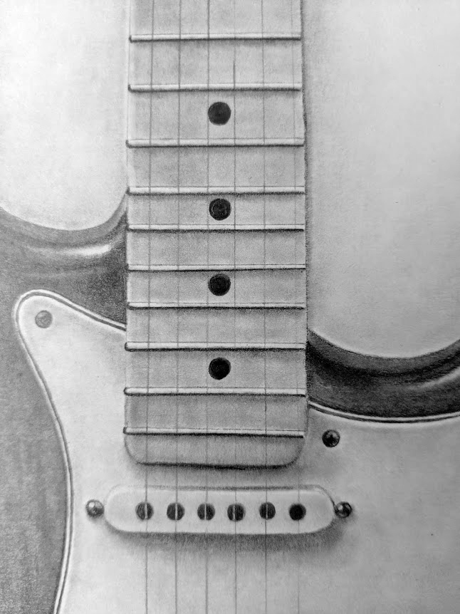 Stratocaster drawing, closeup