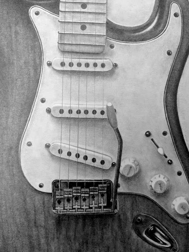 Stratocaster drawing closeup