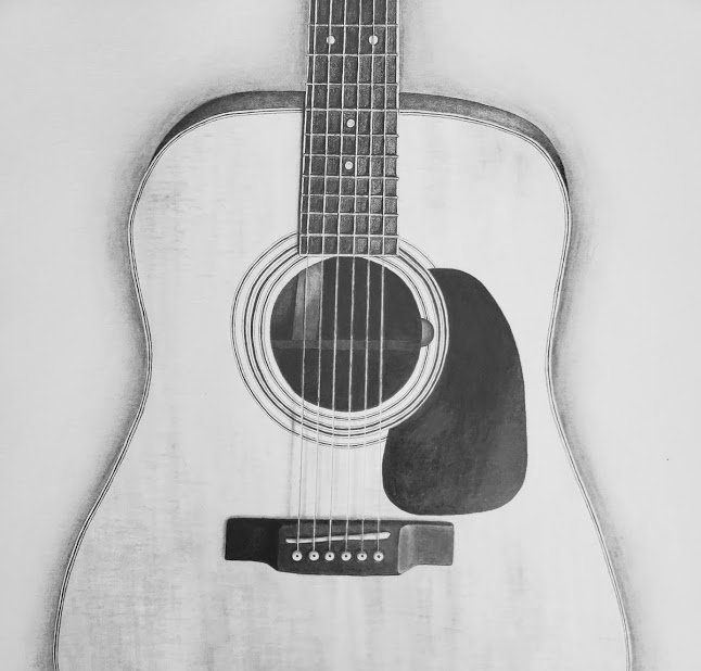 Acoustic Guitar drawing closeup