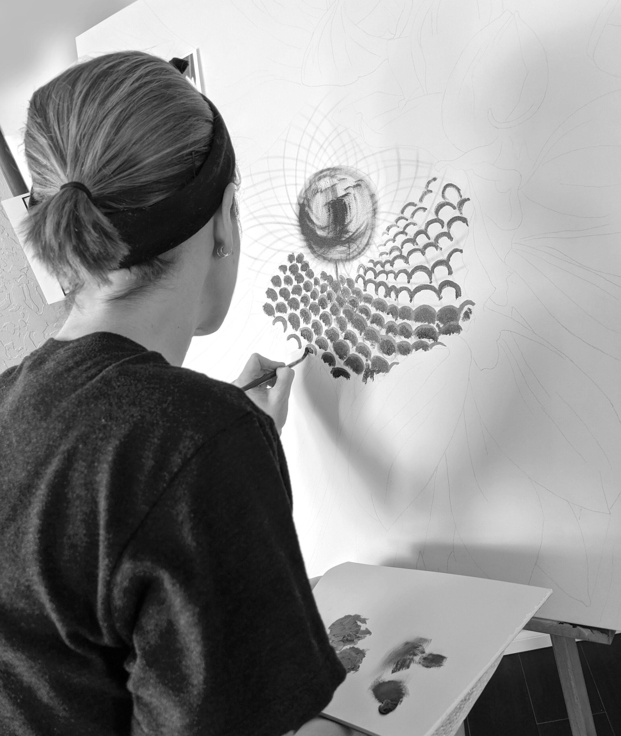 Sunflower Painting in Progress